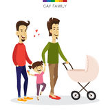Vector gay couple love concept. Family of two men, daughter and baby in the cradle. Romantic illustration. Stock Photography