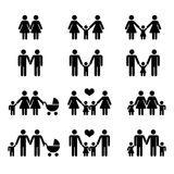 Vector gay family with children icons white Stock Image