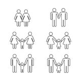 Vector gay family thin line icons white Royalty Free Stock Photo