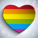 Gay Flag Heart Striped Sticker Stock Photography