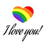 Vector gay LGBT rainbow love Valentine greeting card Stock Photos