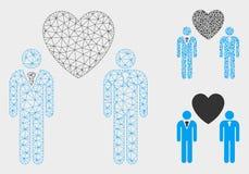 Vector gay Mesh Carcass Model de los amantes e icono del mosaico del triángulo ilustración del vector