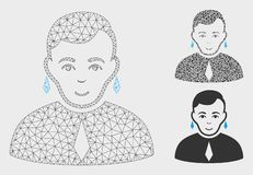 Vector gay Mesh Network Model e icono del mosaico del triángulo ilustración del vector