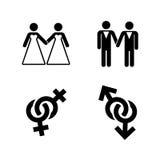 Vector gay wedding icons set white Royalty Free Stock Photos