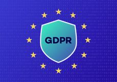 Vector GDPR concept on digital background cyan color. EU flag. General Data Protection Regulation. 10 eps Stock Photo