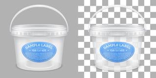 Vector geëtiketteerde transparante lege plastic emmer voor opslag royalty-vrije illustratie