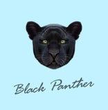 Vector Geïllustreerd portret van Zwarte panter Royalty-vrije Stock Foto's