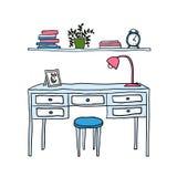 Vector geïllustreerde bureau en plank met boeken Royalty-vrije Stock Fotografie