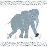 Vector geïsoleerd het lopen olifantspatroon stock illustratie