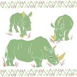 Vector geïsoleerd van rinocerossenmamma en jonge geitjes patroon royalty-vrije illustratie