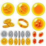 Vector geïsoleerde gele geplaatste bellen Royalty-vrije Stock Afbeeldingen