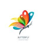Vector geïsoleerde illustratie van kleurrijke abstracte vlinder Het creatieve element van het embleemontwerp Royalty-vrije Stock Foto