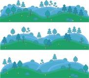 Vector geïsoleerde kunst voor spelen Heuvels met bomen en struiken Royalty-vrije Stock Afbeelding