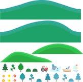 Vector geïsoleerde kunst voor spelen Heuvels met bomen en struiken Royalty-vrije Stock Afbeeldingen