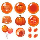 Vector geïsoleerde oranje geplaatste bellen Royalty-vrije Stock Foto