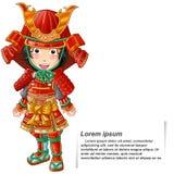 Vector geïsoleerde Persoon in het kostuum van het samoeraienpantser stock illustratie