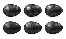 Vector geïsoleerde reeks realistische gelukkige paaseieren Stock Afbeelding