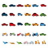 Vector Geïsoleerde Reeks Verschillende Kleurrijke Voertuigen Stock Fotografie