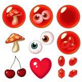 Vector geïsoleerde rode geplaatste bellen Royalty-vrije Stock Foto