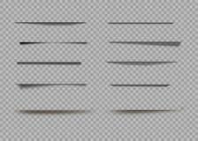 Vector geïsoleerde schaduwen Geïsoleerde paginaverdeler met transparante schaduwen Reeks schaduwgevolgen vector illustratie