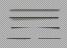 Vector geïsoleerde schaduwen Geïsoleerde paginaverdeler met transparante schaduwen Reeks schaduwgevolgen stock illustratie