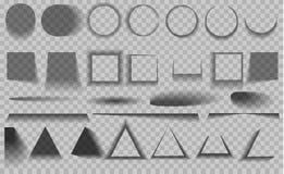 Vector geïsoleerde schaduwen Reeks ronde en vierkante schaduwgevolgen royalty-vrije illustratie