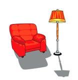 Vector geïsoleerdes stoel en standaardlamp Stock Foto