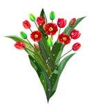 Boeket van rode tulpen met dauwdalingen Royalty-vrije Stock Afbeeldingen