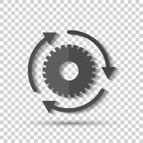 Vector gear icon and three arrows. Workflow symbol on transparent background. Layers grouped for easy editing illustration. For your design royalty free illustration