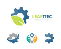 Vector of gear and leaf logo combination. Mechanic and eco symbol or icon. Unique organic factory and industrial Royalty Free Stock Photography