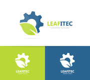 Vector of gear and leaf logo combination. Mechanic and eco symbol or icon. Unique organic factory and industrial Royalty Free Stock Image