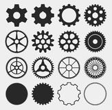 Vector gear silhouettes. Gear silhouettes,  machine technology gears - vector illustration Stock Photography