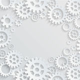 Vector gears and cogs abstract background. Vector gears and cogs white-grey abstract background with place in the center Stock Illustration