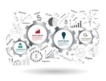 Vector gears and cogs with drawing business success Stock Images