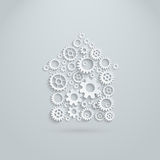 Vector gears and cogs mechanical house. Team building activity concept vector illustration