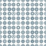 Vector gears icons seamless pattern background machine wheel mechanism machinery mechanical technology technical sign. Stock Image