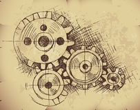 Vector gears on old paper Stock Image