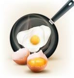Vector gebraden ei in een pan en een gebroken ei Royalty-vrije Stock Foto