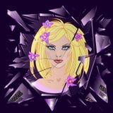 Vector gebroken glas met bezinning van leuk meisje Emotionele illustratie Royalty-vrije Stock Fotografie