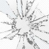 Vector gebroken glas, op een plaidachtergrond Met het effect van transparantie Royalty-vrije Stock Afbeeldingen