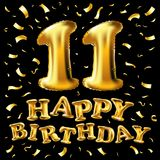 Vector 11. Geburtstagsfeier mit Goldballonkonfettis, Funkeln Design der Illustration 3d für Ihre Grußkarte, Geburtstag herein Lizenzfreie Stockfotos