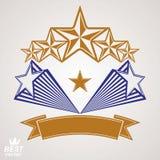 Vector gedetailleerd luxe 3d symbool Monarchembleem, ster Royalty-vrije Stock Foto's