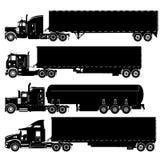 Vector gedetailleerde geplaatste vrachtwagenssilhouetten Stock Foto