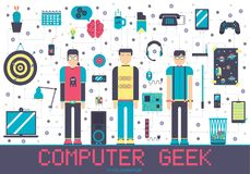 Vector it geeks people icons illustrations set. Flat office professional developer around workplace echnology concept. Vector it geeks people icons royalty free illustration