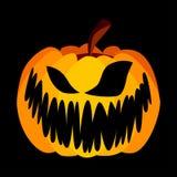 Vector Geeloranje Feestelijke Enge Halloween-Pompoen Royalty-vrije Stock Afbeeldingen