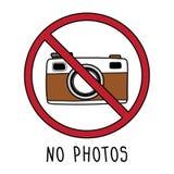 Vector geen teken van het fotosymbool De tekening van de krabbelhand geen die camera op witte achtergrond wordt geïsoleerd royalty-vrije illustratie