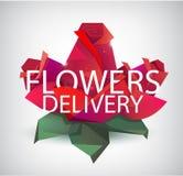 Vector gefacetteerde rozen, rode bloemen met de tekst van de bloemenlevering Gebruik als embleem, illustratie Stock Afbeeldingen
