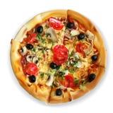 Vector gehackte appetitanregende Scheiben der Ansicht der Pizza Scheiben, foo lizenzfreie abbildung