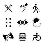 Vector gehandicapte tekens met doof, stom, stod, blind, braille-doopvont, geestelijke ziekte royalty-vrije illustratie