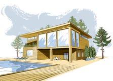 Vector gekleurde achtergrond met modern huis met zwembad Stock Afbeelding
